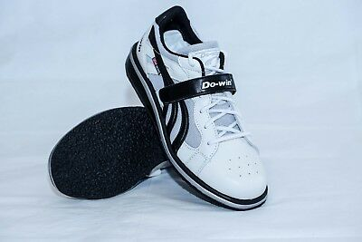 543d06ded697cc Do-Win weightlifting shoe UK 12 white black wooden midsole lace velcro  fasten