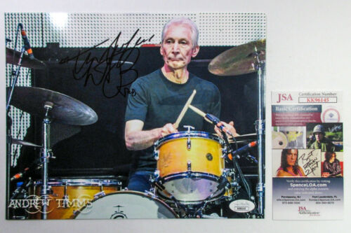 Charlie Watts Drummer Signed Autographed ROLLING STONES 8x10 Photo C JSA COA