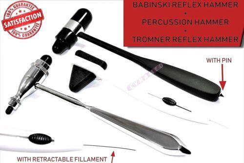 SET OF 3 REFLEX HAMMER SET |  TROMNER, BABINSKI BUCK,  PERCUSSION TAYLOR NEW