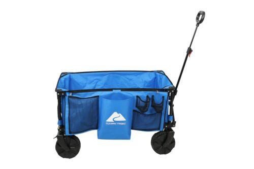 Ozark Trail Camping All-terrain Folding Wagon with Oversized Wheels, Blue