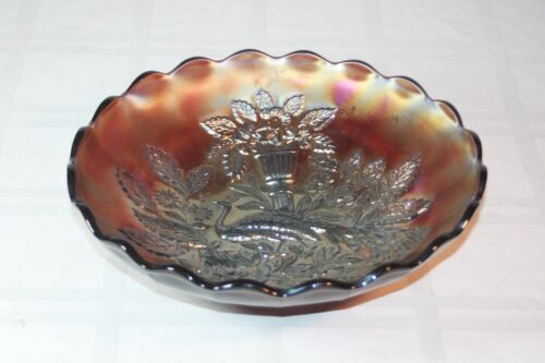 "VINTAGE CARNIVAL GLASS PEACOCK AND URN LARGE RUFFLED  BOWL 9 3/4"" RARE MUST SEE"