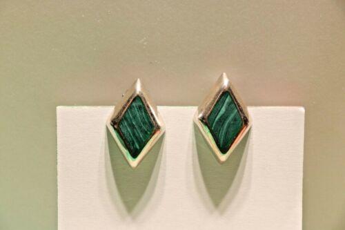 Sterling Clip-on Malachite Diamond Shaped Earrings 13.2 Grams