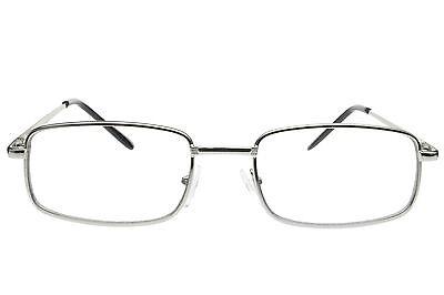 Men Women Fake Non Prescription Glasses Clear Lens Metal Frame Nerd Geek (Silver Framed Glasses)