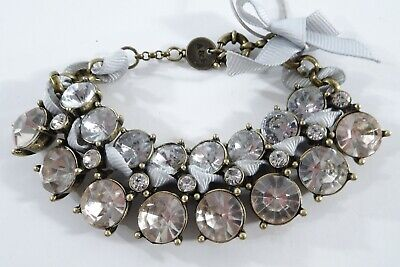 Abercrombie & Fitch Round Two Row Crystal Ribbon Tie Link Bracelet NIP $69 (Round Link Crystal)