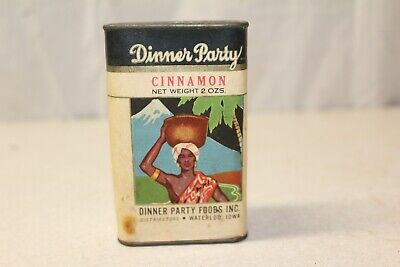 vintage Dinner Party paper label cinnamon spice tin can Waterloo Iowa 2 oz