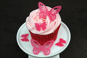 50 HOT PINK BUTTERFLIES PRE-CUT 2 DESIGNS EDIBLE RICE WAFER PAPER CAKE TOPPERS