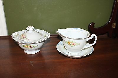 Vintage Creamer with Underplate & Covered Sugar Bowl China Occupied Japan