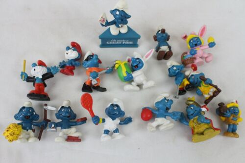 15 Vintage Super Smurf Lot Collection Schleich Peyo 1970s 80s Smurfette Papa Old