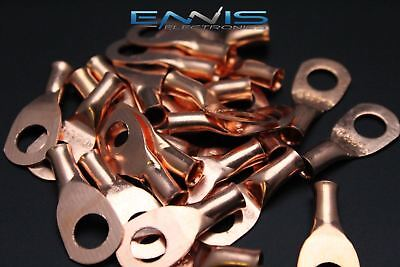 8 GAUGE COPPER 5/16 RING 10 PK CRIMP TERMINAL CONNECTOR AWG GA CAR EYE CUR8516