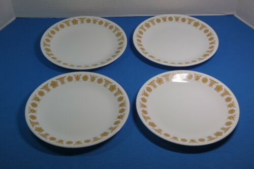 """Corelle Salad/Luncheon Plates 8 1/2"""" Set Of 4 Butterfly Gold Pattern"""