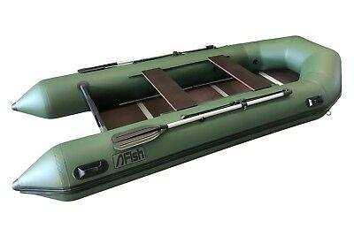 FISH 380 grün Schlauchboot mit Siebdruckplattenboden und Luftkiel Angelboot