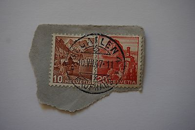 2 Briefmarken Schweiz Helvetia 1947 10 und 20 Rappen Landschaften gestempelt