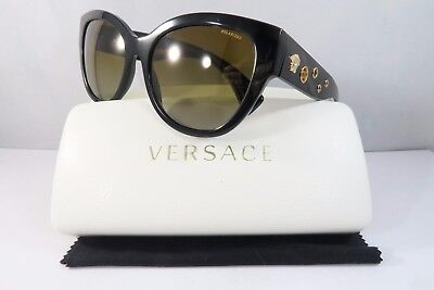 Versace Women's Sunglasses 4314 GB1/T5 POLARIZED Black/Gold Authentic 56mm Case