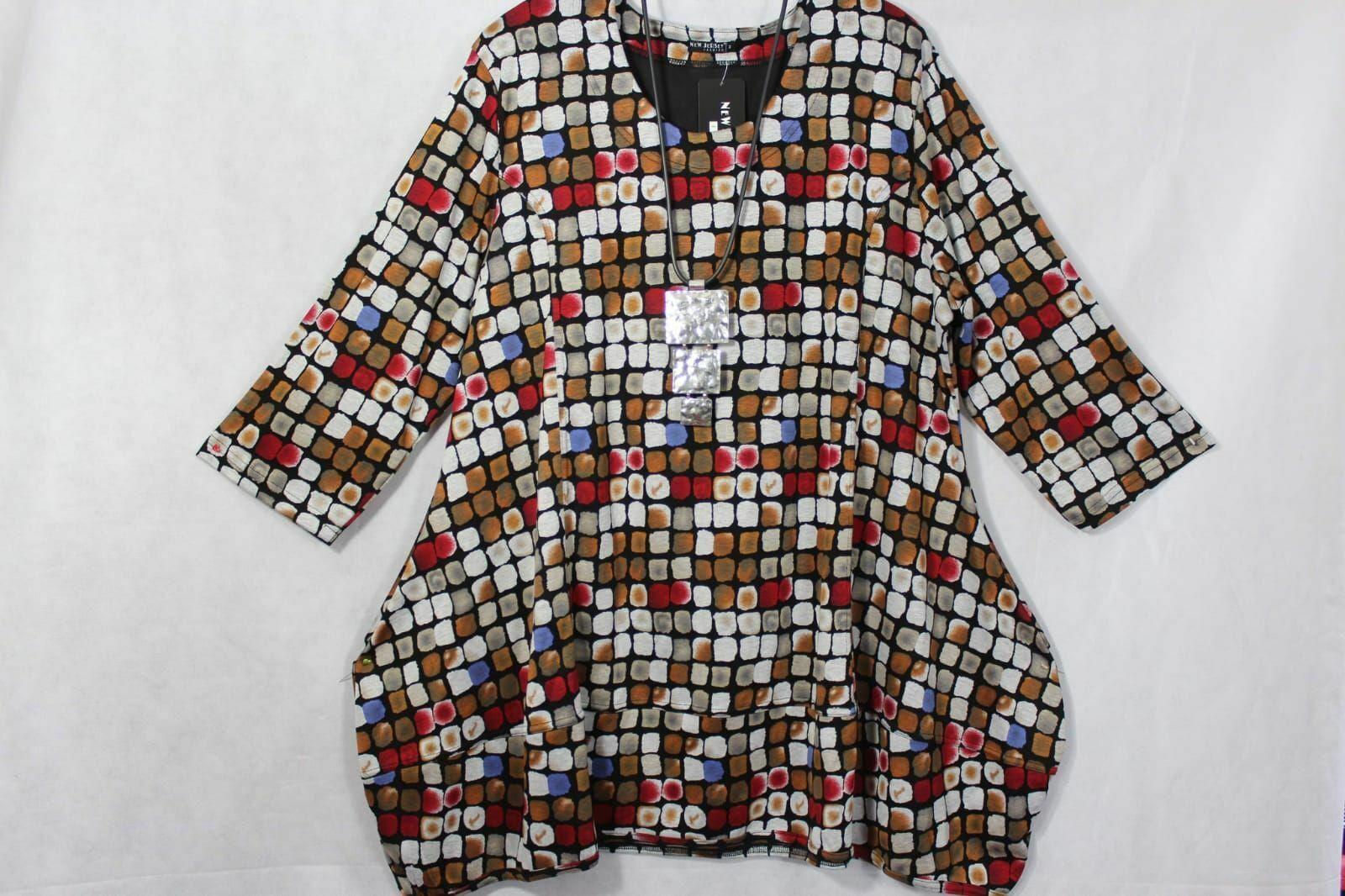 New Jersey Traum Lagenlook Eyecatcher Tunika, Shirt,  A-Linie, Gr.2 ( 54/56 )