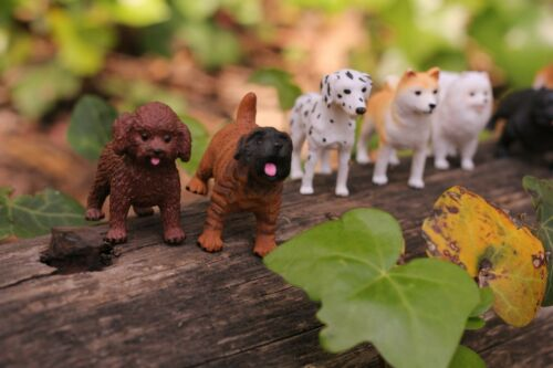 Dog Figurines 8 piece Toy Set Realistic Hand Painted Puppy Miniature Figures