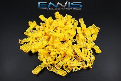 100 Pcs 10-12 Gauge T-tap Yellow Crimp Terminal Awg Wire Splice Connector Ytt