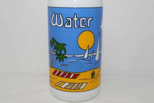 "Vintage White Milk Glass CARLTON 10.25"" Water Bottle Colorful Beach Scene"