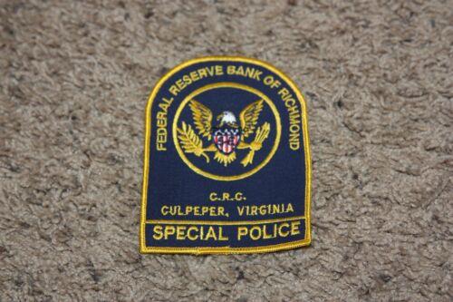 Federal Reserve Bank of Richmond Virginia VA Patch Special Police Culpeper CRC