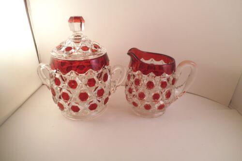 Vintage EAPG Bryce Brothers Red Block Ruby Flash Sugar Bowl & Creamer