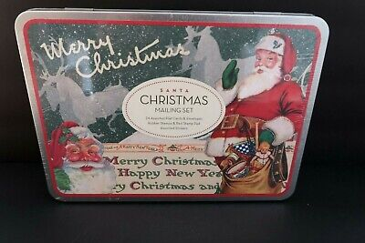 Cavallini Papers Christmas Vintage Santa Mailing Set 24 Cards Rubber Stamps NEW ()