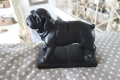 Bull Buchstützen (Buchstützen Englische Bulldogge Briefbeschwerer 21x23x12 cm Kunststein Retro NEU)