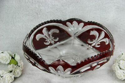 Vintage French Fleur de lys Crystal glass centerpiece bowl fruit table 1960