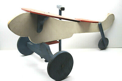 Vintage Airplane Design Wood Wooden Children's Push Tricycle Ride-On 28
