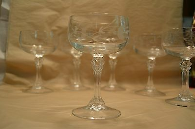 Vintage Crystal Glass Etched Champagne Sherbet Wine Glasses Stemware Set of 6