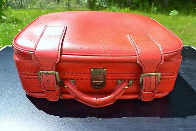 60er 70er Jahre Koffer Reisekoffer Handgepäck Tasche Reisetasche Kunstleder rot