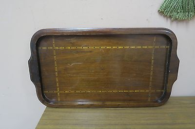 ANTIQUE ENGLISH SERVING TRAY MARQUETRY INLAID WOOD 12