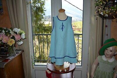 Robe dior 4 ans turquoise 50% lin double noeud devant initiales superbes couleur