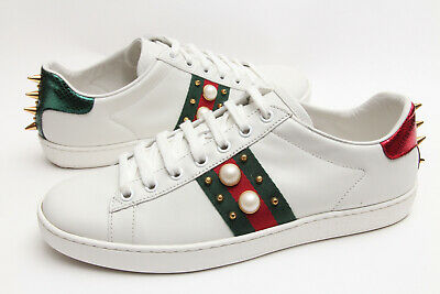 Gucci 'New Ace' Pearl Spike Low Top Women's White Sneakers Shoes EU 39 - US -