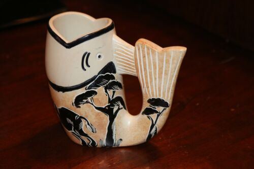 Beautiful African Handcarved Soapstone cup  Fish  Shape with Elephant art