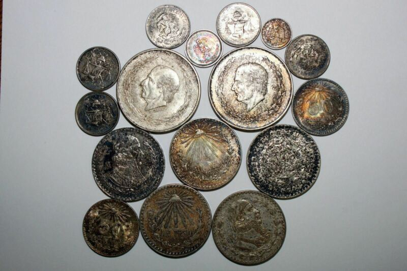 Lot of (16) Silver Mexican Coins Most with Nice Toning! (NUM3147)
