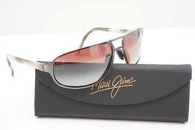 NEW Maui Jim POLARIZED Sunglasses Lahainaluna Pilot Silver w ROSE  (Maui Jim Pilot Polarized Sunglasses)
