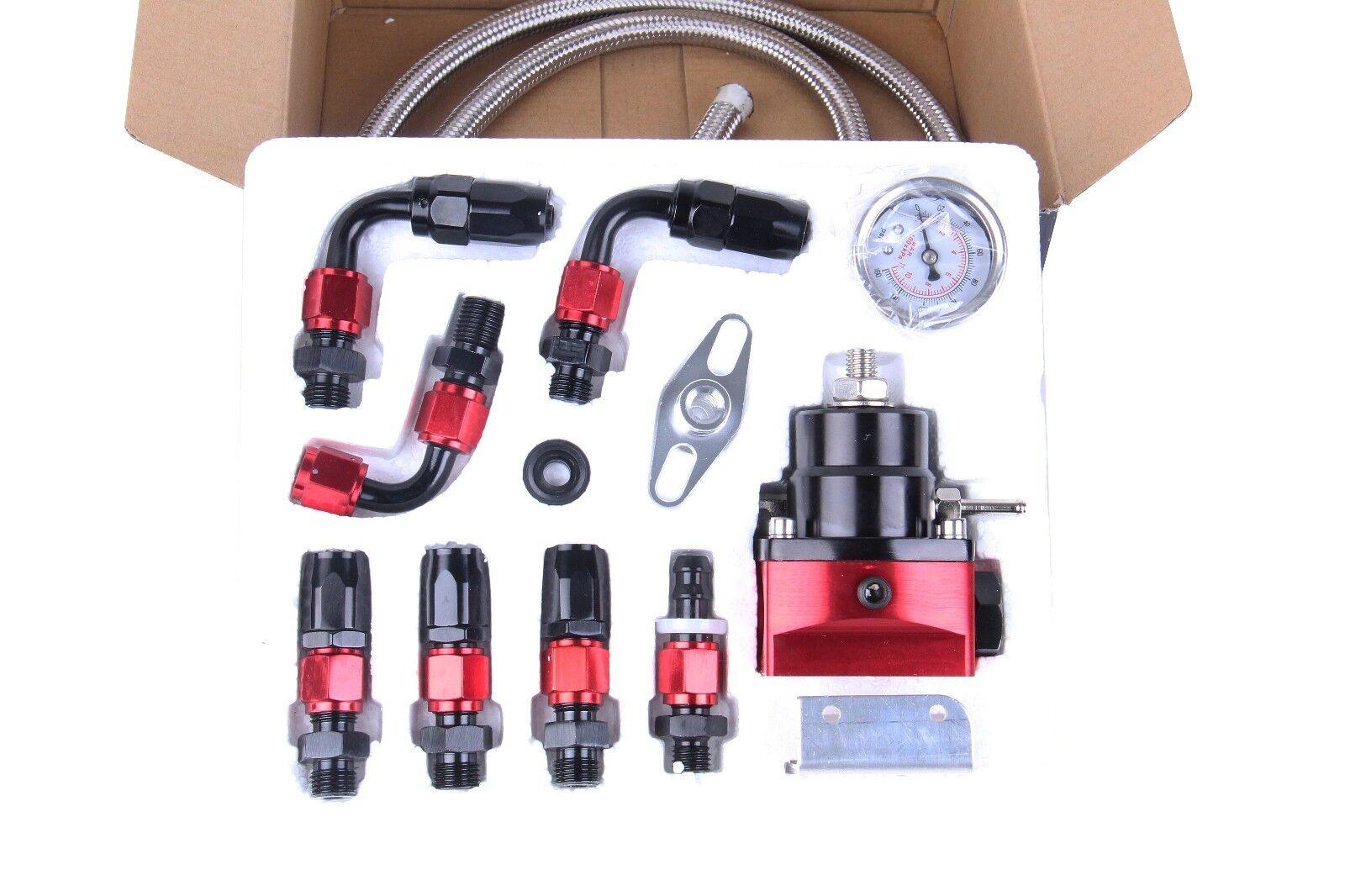 Universal Adjustable Fuel Pressure Regulator Kit 100PSI Oil Gauge AN 6 Hose End