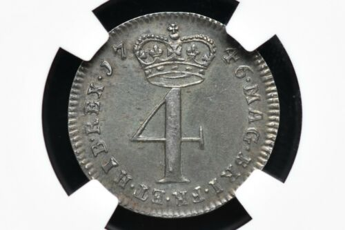 1746 Great Britain Four Pence (4P) Maundy Coin George II NGC AU-55
