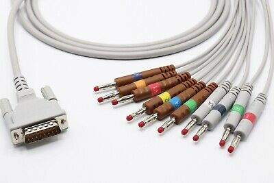 Schiller At1 At2 15 Pin 10 Leads Banana Ekg Cable 4.0 - Same Day Shipping