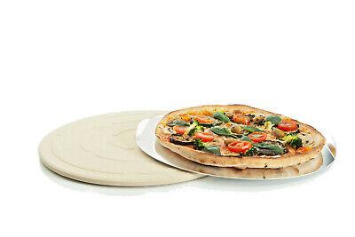 Pizzastein mit Küchenspachtel rechteckig Backofen Brotbackstein 38 x 30,5cm