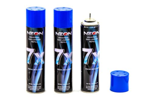 3 Cans Neon 7x Refined Butane Gas 300ml Filtered Lighter Refill Fuel