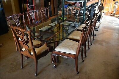 BEAUTIFUL CARVED DETAILED MAHOGANY GLASS TOP DINING SET 8 CHAIRS - THOMASVILLE??