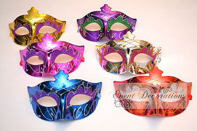 PACK of 6 METALLIC MASQUERADE MASKS, FANCY DRESS - ASSORTED COLOURS! 9223 (Masquerade Mask Pack)