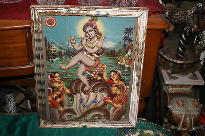 Antique India Hinduism Religious Poster-Goddess Playing Flute-Sea Creatures