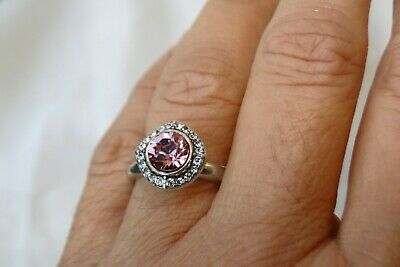 New Authentic Brighton Romantica Silver & Pink Crystal Ring Size 9