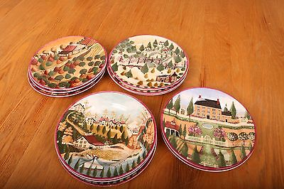 12 Block Country Village Plates Four Seasons Americana Collectible 1995