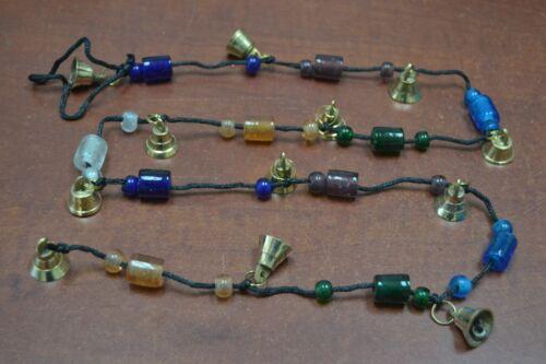 """HANDMADE BRASS METAL BELLS GLASS BEAD THREAD STRING 45"""" #120"""