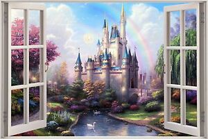 Huge 3d window fantasy castle princess prince view wall for Castle window mural