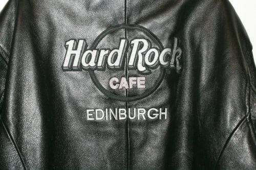Rare Vintage  Hard Rock Cafe Edinburgh Leather Zip Up Jacket Size XL