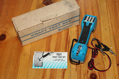 Nos Harris Dracon Ts21 Butt Set Telephone Test Linemans Headset With Box Blue