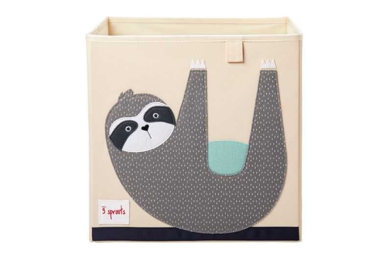 3 Sprouts Cube Storage Box - Organizer Container for Kids & Toddlers, Sloth